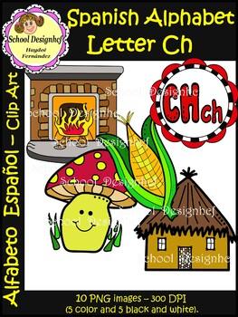 Spanish Alphabet Letter Ch(Alfabeto letra Ch) : Clipart