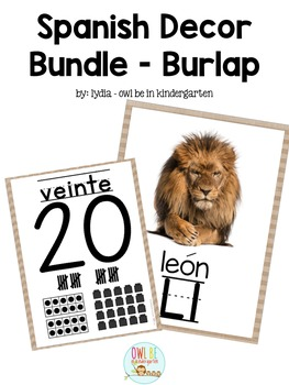 Spanish Alphabet & Number Posters - Burlap