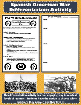Spanish American War Differentiation Activity - Power to t