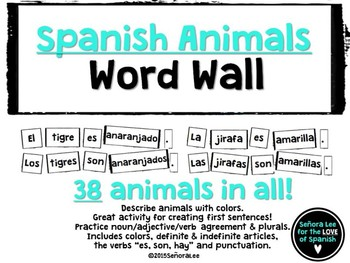 Spanish Animals Word Wall PowerPoint