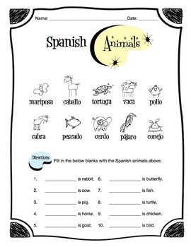 Spanish Animals Worksheet Packet