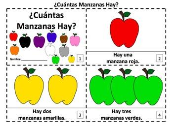 Spanish Apples Emergent Reader Booklets - ¿Cuántas Manzanas Hay?