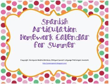 Spanish Articulation Homework Calendar for Summer