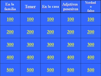 Spanish Así se dice Level 1, Chapter 2 Review Jeopardy (Po