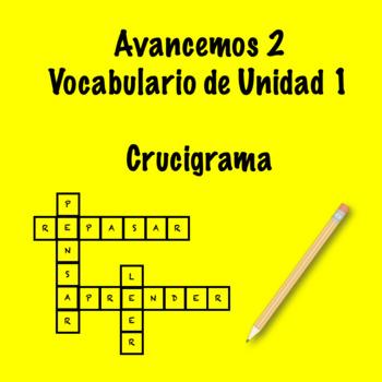Spanish Avancemos 2 Vocab 1.1 Crossword