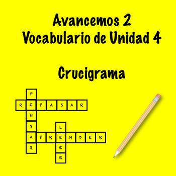 Spanish Avancemos 2 Vocab 4.2 Crossword