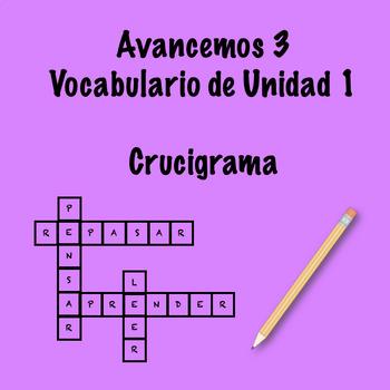 Spanish Avancemos 3 Vocab 1.2 Crossword