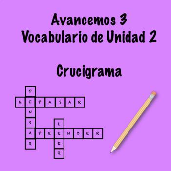 Spanish Avancemos 3 Vocab 2.1 Crossword