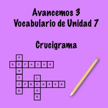 Spanish Avancemos 3 Vocab 7.1 Crossword