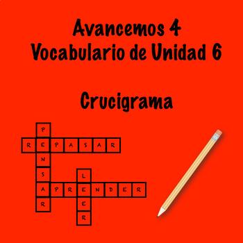 Spanish Avancemos 4 Vocab 6.2 Crossword
