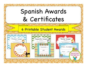 Spanish Awards & Certificates for the Classroom