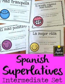 Spanish End of Year Award Certificates - Happy Face Theme Set #1