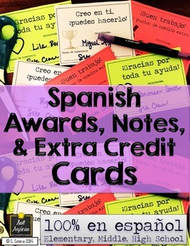 Spanish Awards, Notes, and Extra Credit Cards - Complete Set