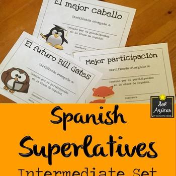 Spanish End of the Year Award Certificates - Fun Theme Set #1