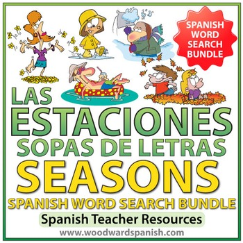 Spanish BUNDLE - Seasons Word Search - Las Estaciones - So