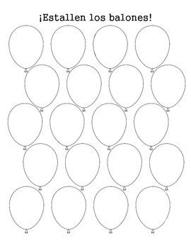 Spanish Balloon Pop Vocabulary Game Sheet
