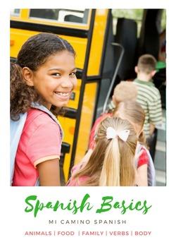 "Spanish Basics Bundle! Animals, Family, Time, Food, ""Me Gu"
