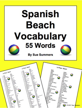 Spanish Beach Vacation Vocabulary 55 Words