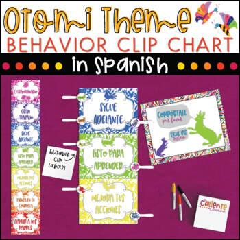 Spanish Behavior Clip Chart - Otomi Theme