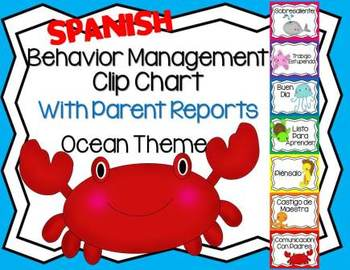 Spanish Behavior Management Clip Chart Ocean Theme with Pa