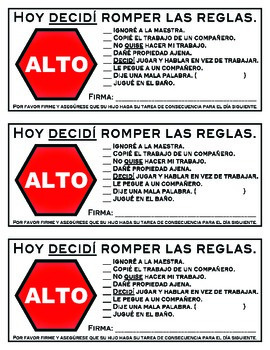Spanish Behavior Ticket