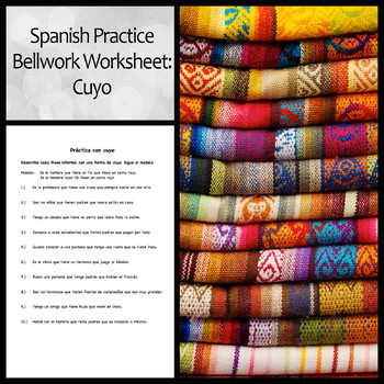 Spanish Bellwork Practice with Cuyo