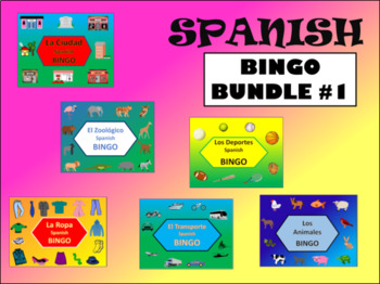 Spanish Bingo Bundle – 6 Spanish Vocabulary Bingo Games