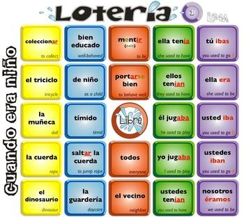 Spanish Bingo - Lotería Cuando era niño