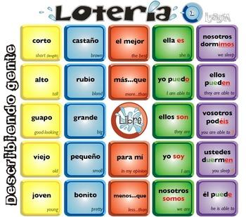 Spanish Bingo - Lotería Describiendo gente