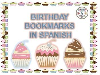 Spanish: Birthday Bookmarks