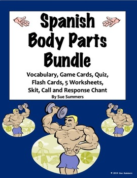 Spanish Body Parts Bundle - Worksheets, Song, Chant, Vocab