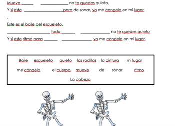 Spanish Body Parts- El Baile del Esqueleto Cloze Activity
