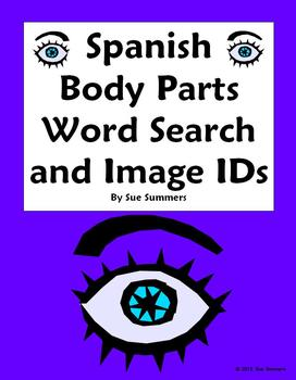 Spanish Body Parts Word Search (30 Words) and 14 Image IDs