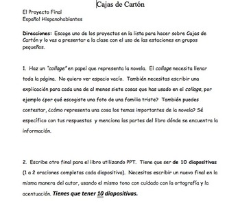 Spanish Book/Novel Project Ideas & Rubrics