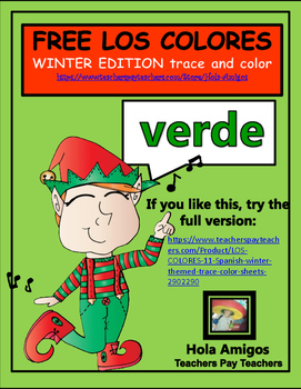 Spanish COLORS - Los Colores - Trace and color winter themed page