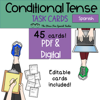 Spanish CONDITIONALTense Task Cards! 45 Cards Editable! (r