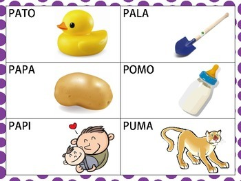 Spanish CVCV words with /P/ sound in the initial position