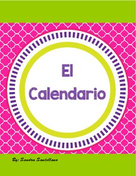 Spanish Calendar Bulletin Board Set Chalkboard & Bright