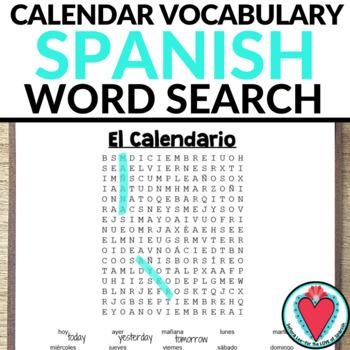 Spanish Calendar Word Search