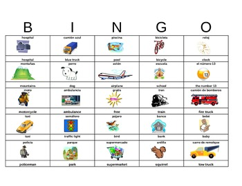 Spanish Summer Road Trip Bingo -Great for Classes, Familie