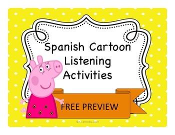 Spanish Cartoon Listening Activities:  Peppa Pig FREE PREVIEW