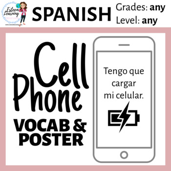Spanish Cell Phone Vocab & Poster