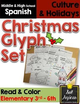 Spanish Christmas Glyph Set of 3 Reading Activities - Elem