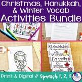 Spanish Christmas, Hanukkah, & Winter Vocabulary Activitie
