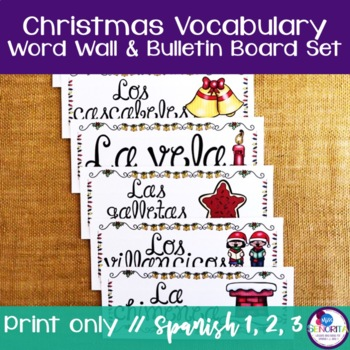 Spanish Christmas, Hanukkah, & Winter Vocabulary Word Wall