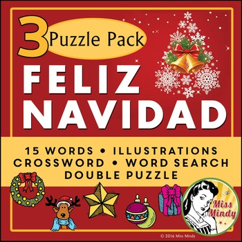 Spanish Christmas: Navidad 3 Puzzle Pack: Crossword - Word