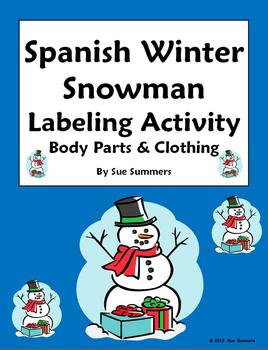 Spanish Christmas / Winter Label the Snowman with Body Par