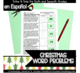 Spanish Christmas Word Problems Solve and Snip