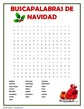 Spanish Christmas Word Search (buscapalabras)