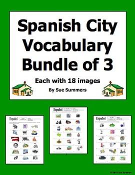 Spanish City Bundle of 3 Vocabulary IDs Worksheets